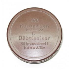 Bakelitdose, 100 Kartuschen Kal. 5,6=22 für Dübelsetzer