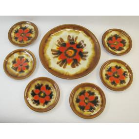 Wachauer Keramik- 1 großer  und 6 kleine Teller