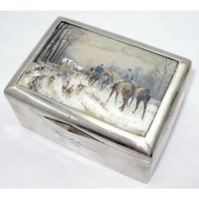 Wiener Silber Deckeldose zum Kapselschiessen 1907