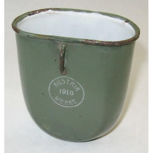 WWI Emaillierter Trinkbecher AUSTRIA WERKE 1916