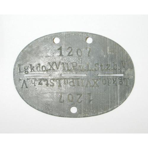 WWII Erkennungsmarke in Tasche, Lgkdo. XVII. P.u.L.St.z.b.V.