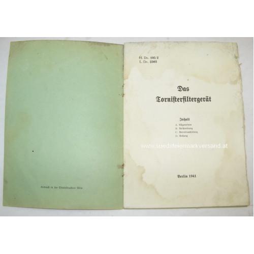 Wehrmacht Tornisterfiltergerät 1941 mit originaler Dienstvorschrift H. Dv. 195/2 - L. Dv. 2303 vom Juni 1941