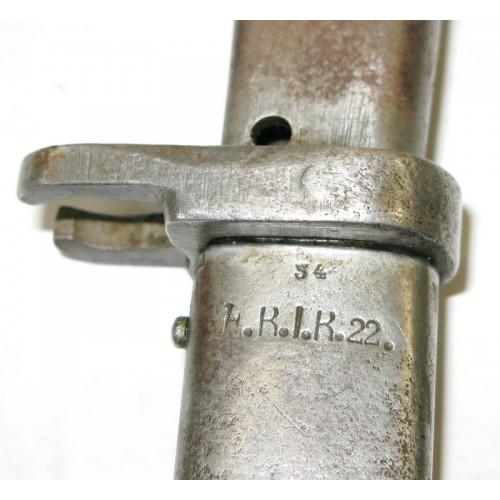 1.Weltkrieg Ersatzbajonett Notbajonett mit Truppenstempel F.R.I.R.22