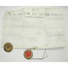 Pergament Urkunde mit Wachssiegel NOS RECTOR ET 1826