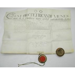 Pergament Urkunde mit Wachssiegel UM OBSTETRICANDI MUNUS 1826