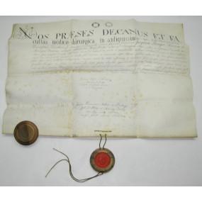 Pergament Urkunde mit Wachssiegel NOS PRAESES DECANUS ET FA 1828