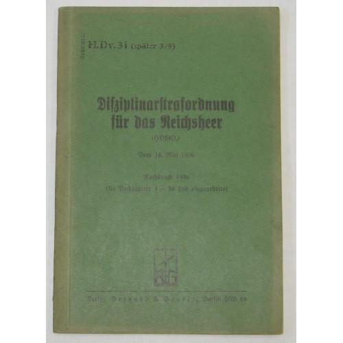 H. Dv. 3i, Disziplinarstrafordnung für das Reichsheer