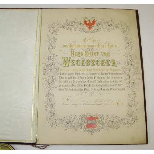 Urkunde EHRENBÜRGER INNSBRUCKS Hugo Ritter von Weckbecker 1860