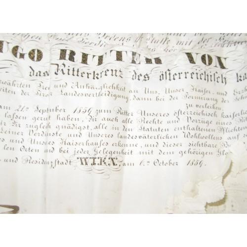 Verleihungsurkunde zum Leopoldorden für Hugo Freiherr von Weckbecker 1859, Kaiser Franz Joseph I.