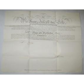 Obersten Patent für den k.k. Oberstleutnant Hugo von Weckbecker 1856