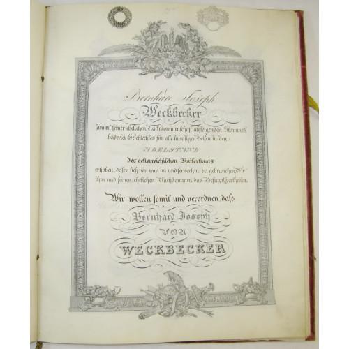 Adelsdiplom für Bernhard Joseph von Weckbecker, Kaiser Ferdinand I. 1836