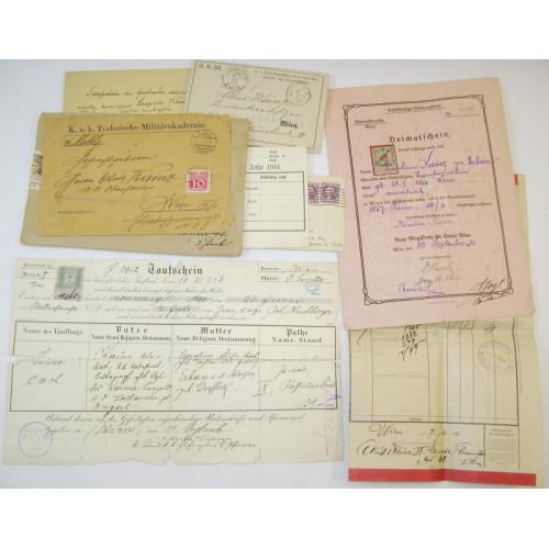 Urkunden Nachlass eines k. u. k. Oberleutnants beim Infanterieregiment Nr. 74