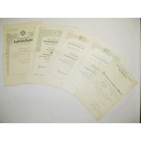 Urkunden Nachlass eines k. u. k. Oberleutnants beim  Feldhaubitzregiment Nr. 30