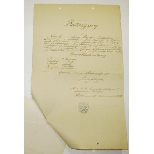 Zeugnis und Entlassungs -Certifikat einjährig Freiwilliger 1872