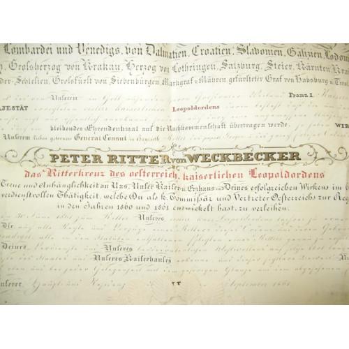 Pergamenturkunde zum Ritterkreuz des österr. Kaiserlichen Leopoldordens 1861