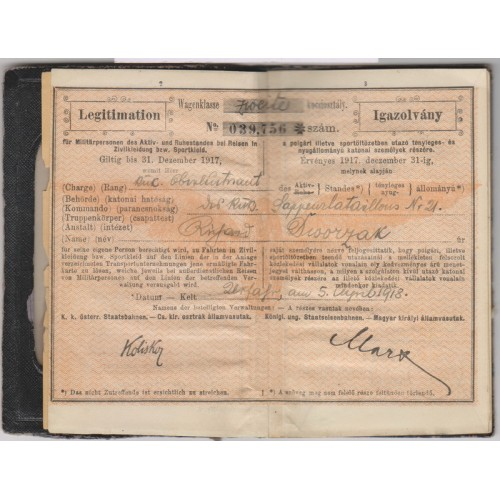 Legitimation für Millitärpersonen k. u. k. Sappeurbataillon Nr. 21