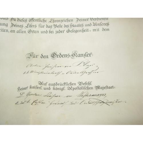 Verleihungsurkunde für das Ritterkreuz des Österreichisch Kaiserlichen Leopoldordens