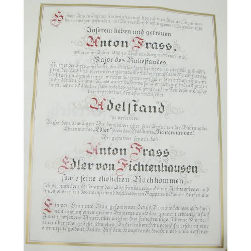 Kaiser Karl I. von Österreich Adelsdiplom