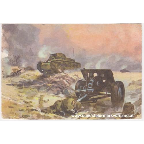 Ansichtskarte / Postkarte, Deutsche Wehrmacht, Panzer überrennen eine englische Batterie