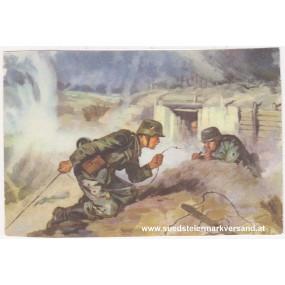 Ansichtskarte / Postkarte, Deutsche Wehrmacht, Störungssucher flicken eine Telefonleitung