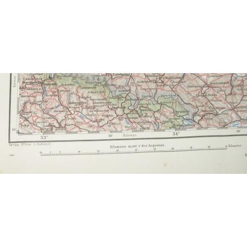k. u. k. Landkarte, POSEN, GLOGAU, SCHWEIDNITZ, OPPELN, KALISZ