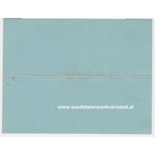 Identitätskarte k. u. k. Inf. Regmt. Freiherr von Hess Nr. 49 II. Ers. Komp.