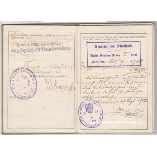 k. u. k. Militär - Pass k. u. k. 3. Reg. der Tiroler Kaiser-Jäger