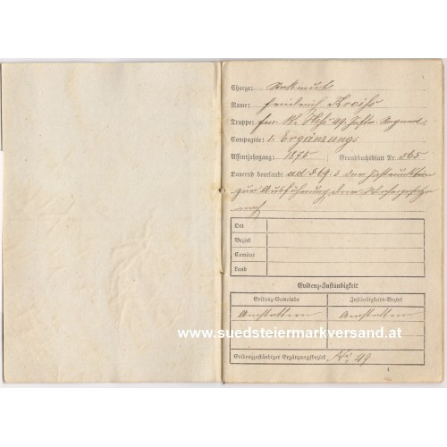k. u. k. Militär - Pass k. k. Inf. Regmt. Freiherr von Hess Nr. 49