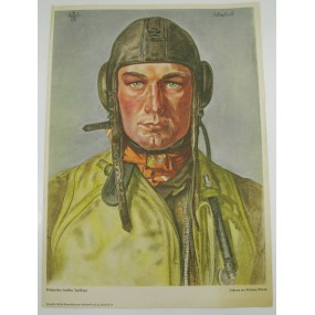 Willrich farbiges Plakat, Erfolgreicher deutscher Jagdflieger ( B. Uellenbeck)
