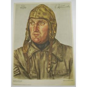 Willrich farbiges Plakat, Oberstleutnant Schumacher, Commodore eines Jagdgeschwader