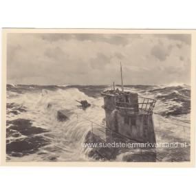 "Heer-Propaganda-Postkarte, Claus Bergen ""Im Atlantik"""