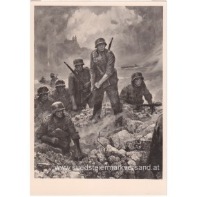 "Heer-Propaganda-Postkarte, Wilhelm Sauter ""Übergang am Oberhhein 1940"""