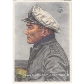 Kriegsmarine-Willrich farbige Propaganda-Postkarte - Kapitänleutnant Prien