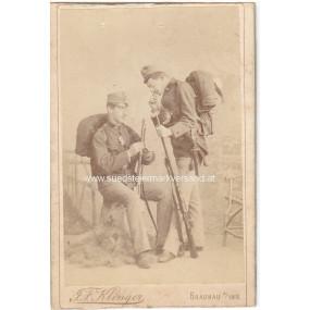 Österreich K. u. K. Armee 2 Infanteristen in Feldadjustierung um 1890
