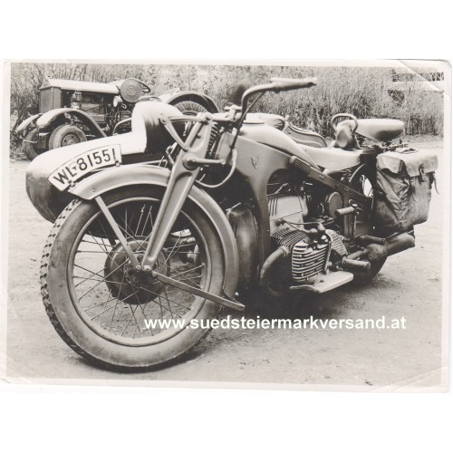Luftwaffe Foto, ZÜNDAPP K 800 Gespann und HANOMAG Diesel - Schlepper