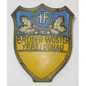 Österreich, Feuerwehr Helmemblem FF-BRÜDER WÜSTER YBBS/DONAU