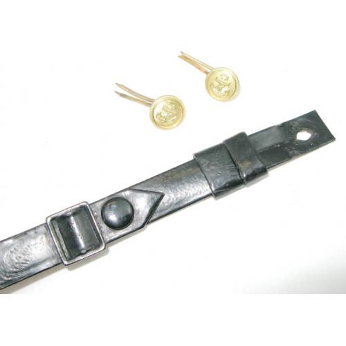 Kriegsmarine Lacklederriemem für die Offiziers - Schirmmütze