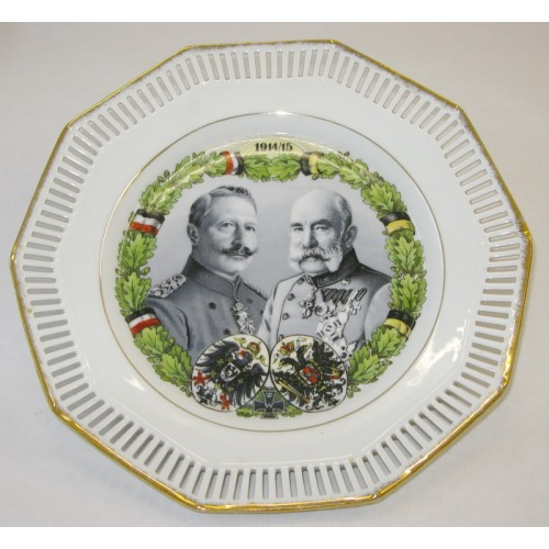 Patriotischer Wandteller, Kaiser Franz Josef I. und Kaiser Wilhelm II.1914/15