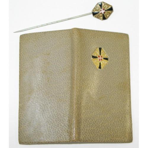 Patriotisches Abzeichen u. Portemonaiekalender v. Schwarz - Gelben - Kreuz