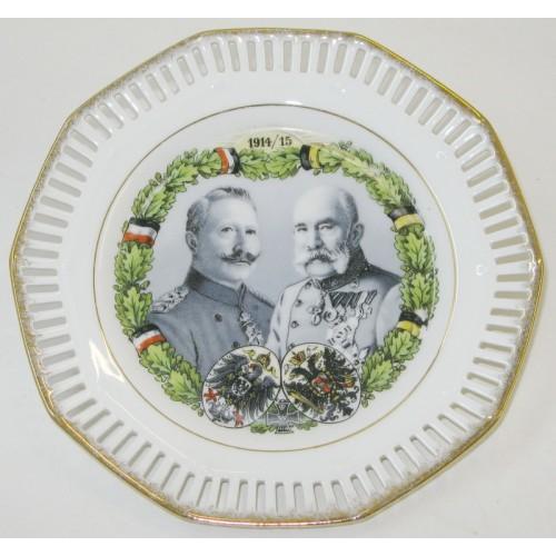 Patriotischer Durchbruchteller, Kaiser Franz Josef I. und Kaiser Wilhelm II.1914/15