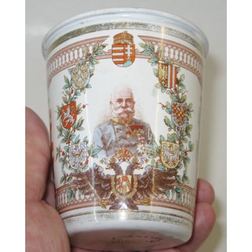 Patriotischer Becher zum 50 jährigen Regierungsjubiläum Kaiser Franz Joseph I. von Österreich