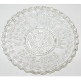 Patriotische Glasschale Kaiserjubiläum Andenken 1848-1888