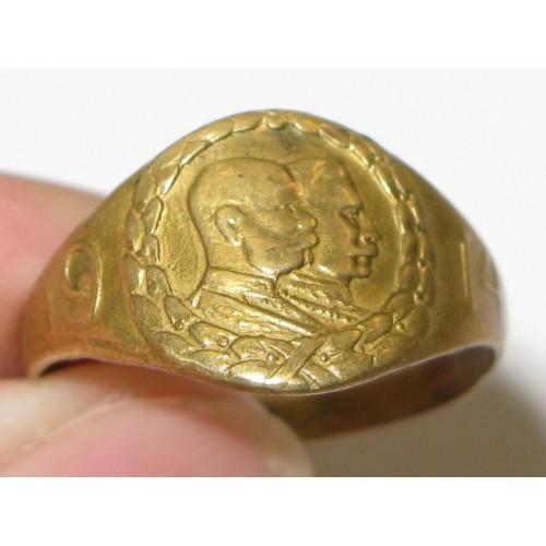 Patriotischer Ring , Kaiser Franz Josef I. und Kaiser Wilhelm II. 1914