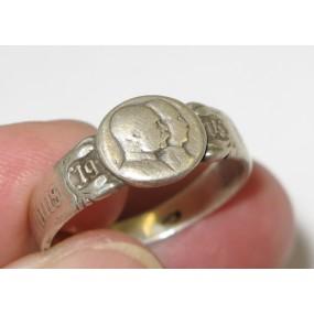 1. Weltkrieg patriotischer Fingerring, Kaiser Franz Josef I. und Kaiser Wilhelm II. VIRIBUS UNITIS