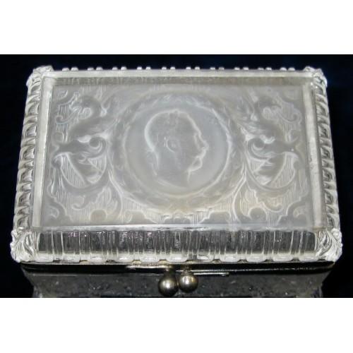 Patriotische Glas-Schatulle Kaiser Franz Josef I.