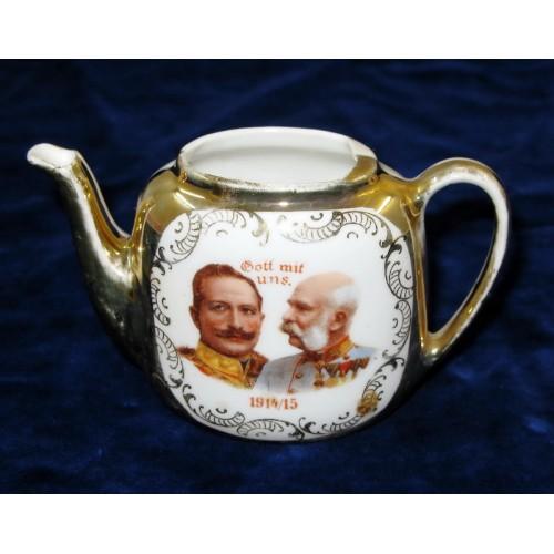 Patriotische Kaffeekanne Gott mit uns 1914-1915