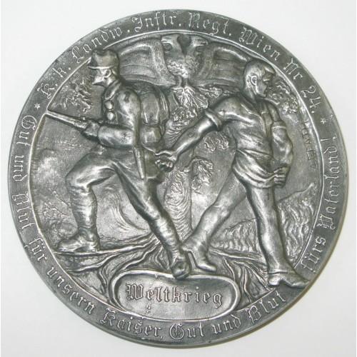 Medaille, Auf die Kriegsteilnahme des k.k. Landwehr-Infanterie-Regiments Wien, Nr. 24 in den Jahren 1914-1917