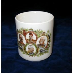 Patriotisches Heferl/Tasse mit den vier verbündeten Monarchen