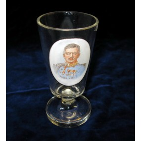 1. Weltkrieg Patriotisches Trinkglas Kaiser Karl