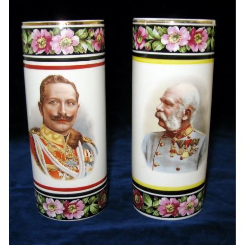 Patriotisches Vasen-Paar Wilhelm II u. Franz Josef I.